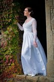 Abito da Sposa con Increspature in Taffeta con Applique A-Line A Terra