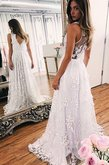 Abito da sposa shiena sheer con fiore suggestivo con perline principessa fancy