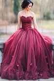 Abito da Sera con Applique Ball Gown in Tulle Cuore Naturale