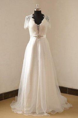 Abito da Sposa in Pizzo in Organza con Perline Cappellino A-Line
