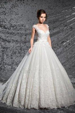 Abito da Sposa Coda A Strascico Cappella con Applique Queen Anne Elegante Sogno