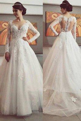 Abito da Sposa in Tulle Naturale con Maniche Lunghe Coda A Strascico Corto Ball Gown