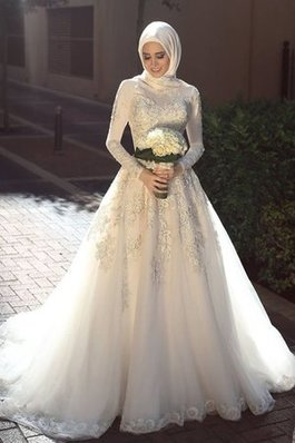 Abito da sposa alta coperta in tulle eccellente con piega romantico pudica