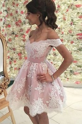 Abito Homecoming Principessa in Tulle Naturale Corto con Applique