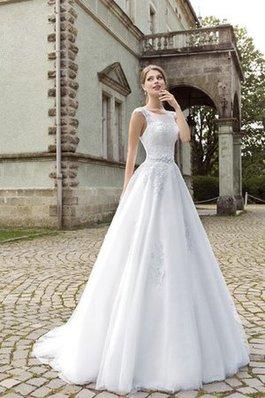Abito da Sposa con Applique Semplice Originale con Piega in Tulle