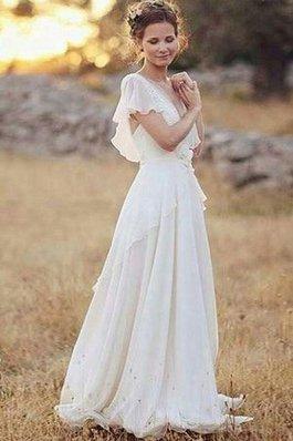Abito da sposa naturale romantico fantastico con increspato all aperto con piega