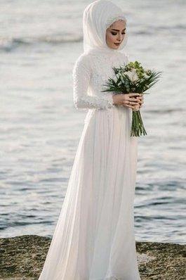 Abito da sposa naturale a-line a riva in chiffon all aperto affascinante