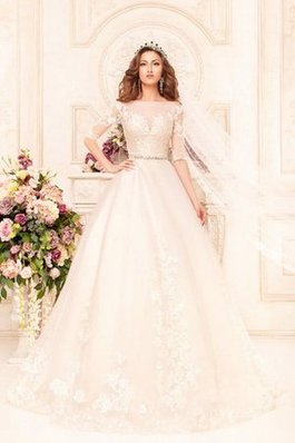 Abito da Sposa Ball Gown Profondo V-scollo Lunghi con Applique Largo