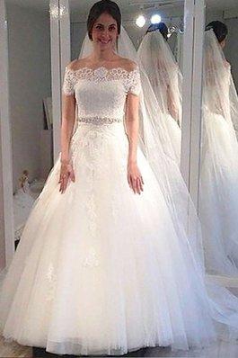Abito da Sposa in Tulle Naturale con Manica Corte Ball Gown Spazzola Treno