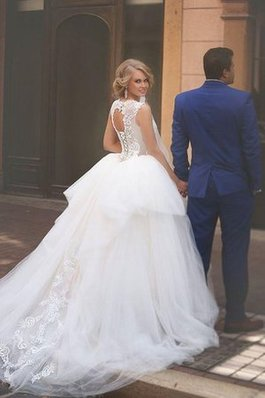 Abito da Sposa con Applique A-Line in Tulle in Pizzo decorato
