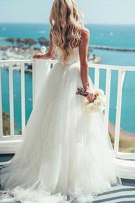 Abito da Sposa Romantico in Tulle Cerniera Senza Maniche Elegante