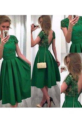 Vestito Laurea Tondo in Raso in Pizzo A-Line Naturale