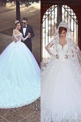 Abito da Sposa in Tulle Fuori dalla spalla Naturale Ball Gown Coda A Strascico Corto