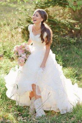 Abito da Sposa Cerniera in Organza Coda A Strascico Corto in Pizzo V-Scollo