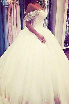Abito da Sposa Ball Gown Senza Maniche Fuori dalla spalla Spazzola Treno in Tulle