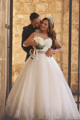 Abito da Sposa con Applique con Perline Senza Maniche Lusso Favola