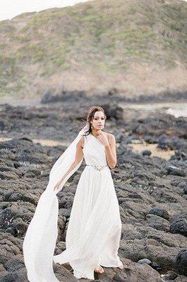 Abito da Sposa Monospalla Naturale con Perline A-Line Spacco Laterale