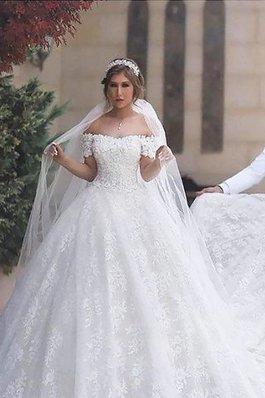 Abito da Sposa Coda A Strascico Corto Naturale con Manica Corte in Pizzo Ball Gown