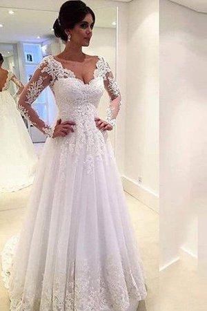Abito da Sposa Ball Gown in Pizzo in Tulle Allacciato Coda A Strascico Corto